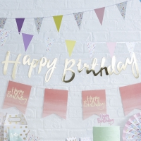 Backdrop Happy Birthday Guld